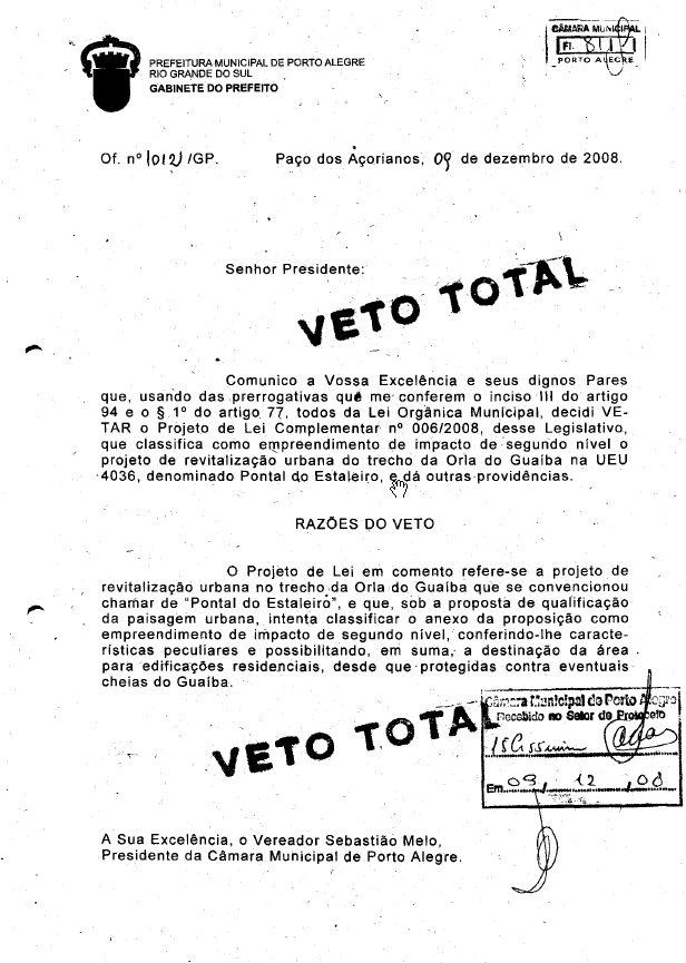 Veto do prefeito José Fogaça ao chamado projeto Pontal do Estaleiro -pag 1