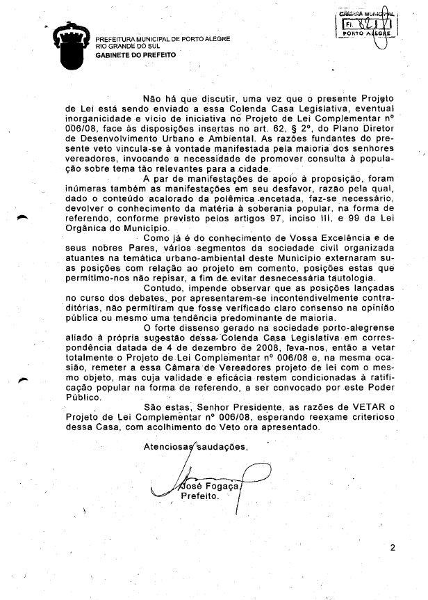 Veto do prefeito José Fogaça ao chamado projeto Pontal do Estaleiro - pag 2
