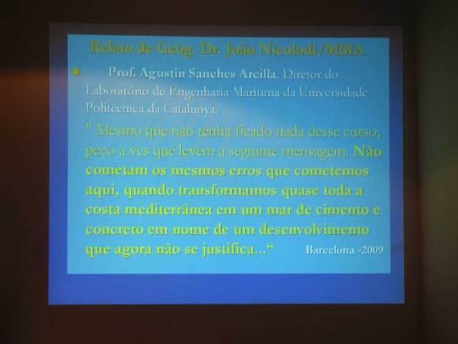 Slide da apresentação do geógrafo Nelson Grüber