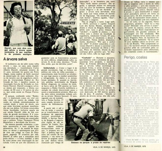 Matéria na revista Veja em 5 de março de 1975 - reprodução arquivo dos Amigos da Rua Gonçalo de Carvalho