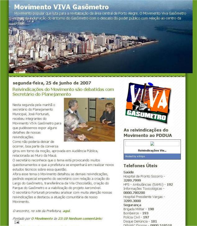 """Captura de tela da postagem do Blog do Movimento em 25 de junho de 2007. O """"post"""" atualmente está inacessível pois as postagens antigas foram retiradas pela atual coordenação do Movimento."""