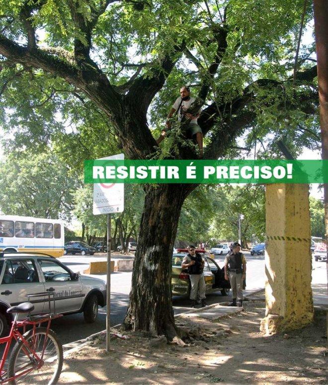 Jovens sobem em árvores para que não sejam cortadas. 06/02/2013 - Foto Amigos da Rua Gonçalo de Carvalho