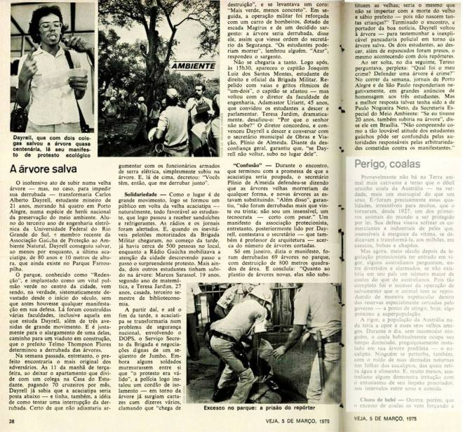 Matéria na revista Veja em 5 de março de 1975 - reprodução arquivo Gonçalo de Carvalho (clique na imagem para ler a matéria)