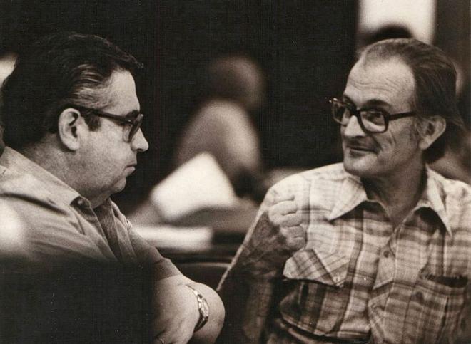 Flavio Lewgoy e José Lutzenberger. Duas das principais vozes  do ambientalismo gaúcho. (Arquivo AGAPAN)