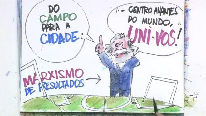 Charge do Paulo Caruso, feita no programa (captura de tela)