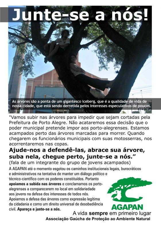 Jovens acampados ao lado da Câmara Municipal de Porto Alegre recebem o apoio da AGAPAN