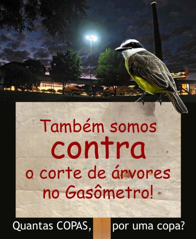 """""""Quantas COPAS, por uma copa?"""" - Movimento que surgiu no Facebook - resiste aos cortes de árvores em Porto Alegre."""