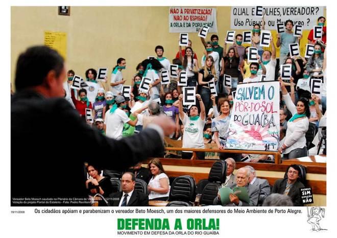 Homenagem ao vereador Beto Moesch, quando da luta contra o projeto Pontal do Estaleiro