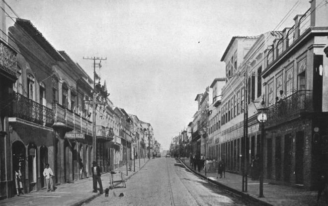 Rua dos Andradas, conhecida como Rua da Praia, em 1913