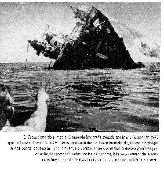 O navio Taquari partido ao meio - reprodução de Sebastião Pinheiro