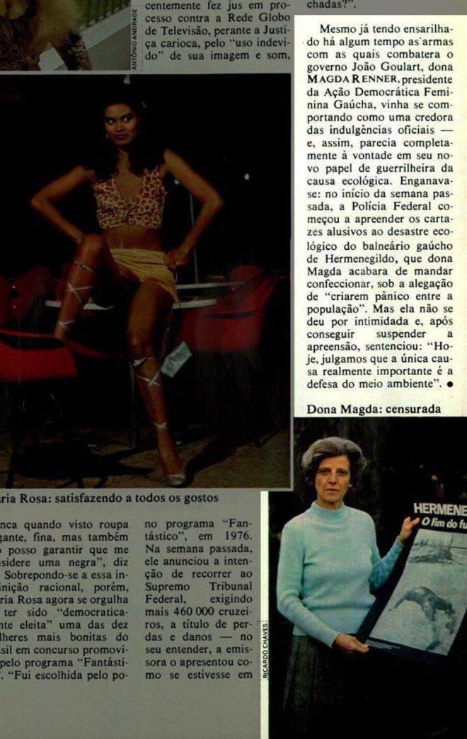 """Os perigosos cartazes """"subversivos"""" A Polícia Federal apreendeu os cartazes do desastre ecológico em Hermenegildo, feitos pela ambientalista Magda Renner. - Revista Veja  - 21 de junho 1978"""