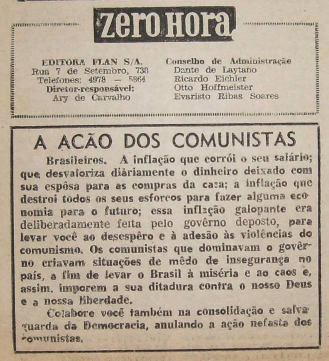 """Em 14 de maio de 1964 a recém criada Zero Hora """"justifica o golpe militar"""" e pede ajuda da população na """"luta contra os comunistas"""". Até hoje não se retratou..."""